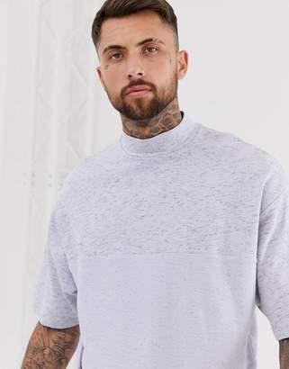 Asos Design DESIGN oversized short sleeve crew neck with reverse panel in lilac interest fabric-Purple