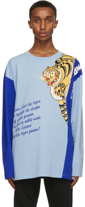 Kenzo Blue Kansaiyamamoto Edition Oversize Seasonal Logo Long Sleeve T-Shirt