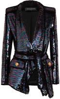 Balmain Sequined Frayed Crepe Blazer - Violet