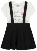 George Slogan Embroidered T-Shirt and Pinafore Dress Set