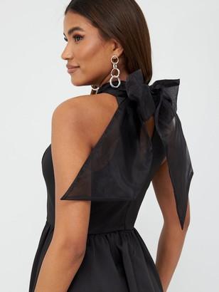 Very Organza Bow Back Mini Prom Dress - Black