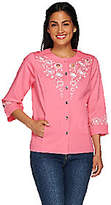 Bob Mackie Bob Mackie's 3/4 Sleeve Embroidered andCut Out Jacket