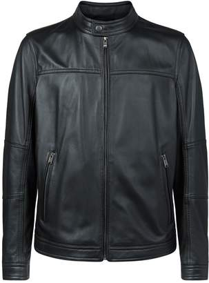 BOSS Leather Zip-Up Jacket