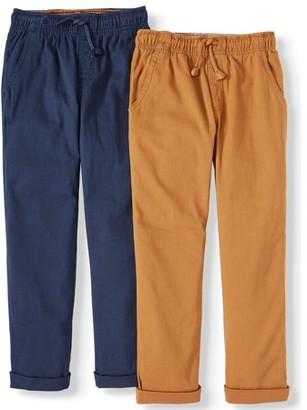 Wonder Nation Boys Pull On Pants 2-Pack, Sizes 4-18 & Husky
