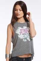 Chaser LA Pink Floyd The Wall Muscle Crop Top in Streaky Grey