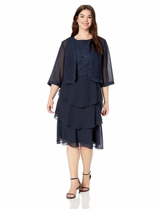 Le Bos Women's Size Plus Embroidered Jacket Dress