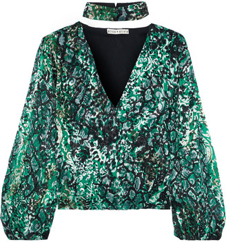 Alice + Olivia Luba Gathered Snake-print Burnout Crepe De Chine Blouse