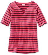 L.L. Bean L.L.Bean French Sailors Shirt, Elbow-Sleeve Split-Neck