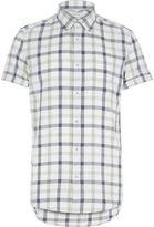 River Island MensEcru check short sleeve shirt