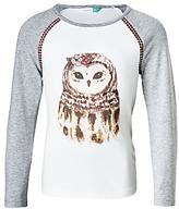 John Lewis Girls' Owl T-Shirt, Grey/White