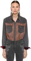 Etro Printed Wool & Silk Denim Effect Shirt