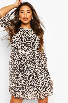 boohoo Leopard Print Chiffon Smock Dress