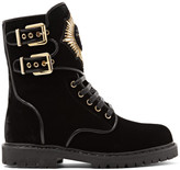 Balmain Leather-trimmed Embellished Suede Ankle Boots - Black