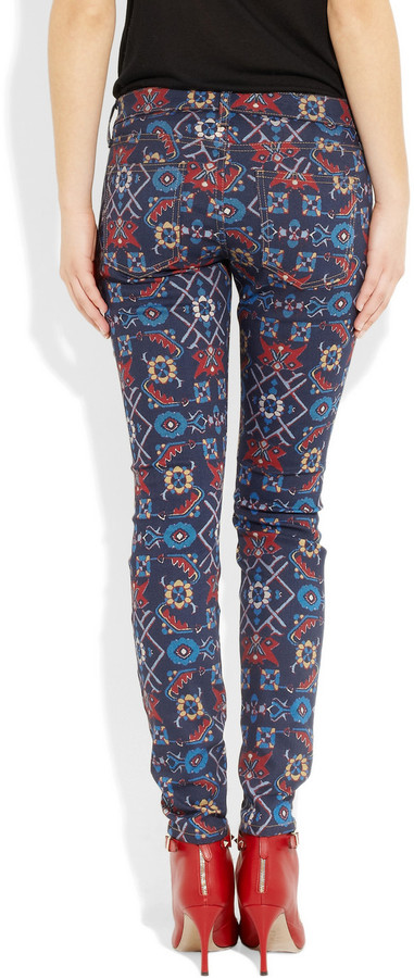 Current/Elliott The Ankle Skinny printed mid-rise jeans