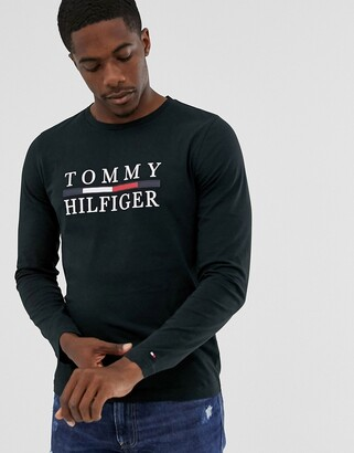 Tommy Hilfiger large chest logo long sleeve t-shirt in black