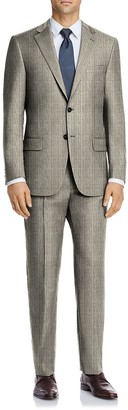 Hart Schaffner Marx Tan Check Plaid Two Button Notch Lapel New York Fit Suit
