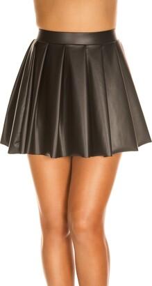 Music Legs Women's Wet Look High Waisted Full Pleated Skirt