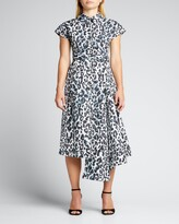 Thumbnail for your product : Huishan Zhang Leopard-Print Asymmetric Midi Shirtdress