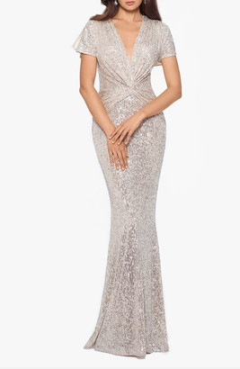 Xscape Evenings Sequin Twist Front Mermaid Gown
