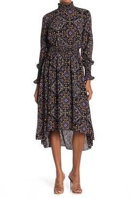 Nanette Nanette Lepore Smock Neck Long Sleeve Midi Dress