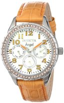 Invicta Women's 12606 Angel White Mother-Of-Pearl Dial Crystal Accented Light Orange Leather Band Watch