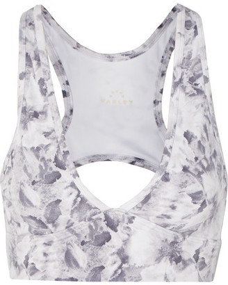 Varley Walsh Cutout Floral-print Stretch Sports Bra - White