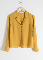 And other stories V-Cut Silk Button Up Blouse