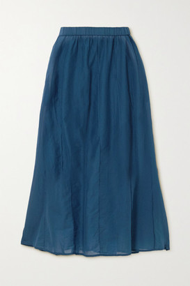 Skin Beatriz Pintucked Cotton-voile Midi Skirt - Storm blue
