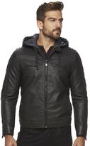 Marc Anthony Men's Slim-Fit Faux-Leather Hooded Moto Jacket