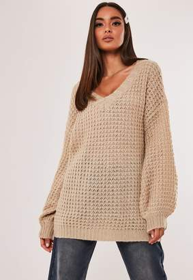 Missguided Stone Waffle Knit V Neck Jumper