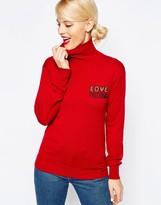 Love Moschino Silk Mix Beaded Logo Sweater