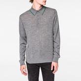 Paul Smith Men's Grey Marl Merino-Wool Long-Sleeve Polo Shirt