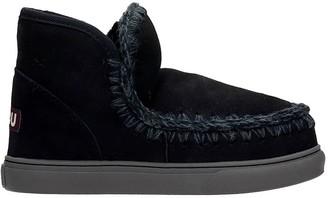 Mou Eskimo Sneaker Low Heels Ankle Boots In Black Suede