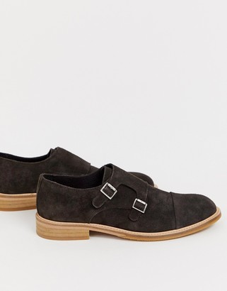Selected suede monk shoes-Brown