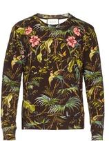 Gucci Tropical-print floral-appliqué cotton sweatshirt