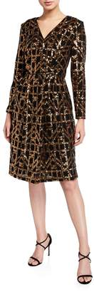Calvin Klein Bling Long-Sleeve Faux-Wrap Dress