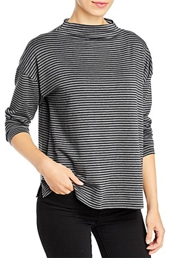 Eileen Fisher Striped Funnel Neck Top