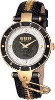 Versus By Versace 37mm Key Biscayne II Watch w/ Leather Zipper Strap, Black