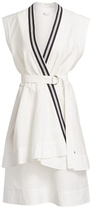Brunello Cucinelli Layered Crossover Belted Wrap Dress