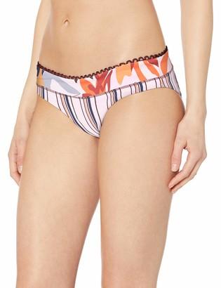 Maaji Women's Bumpy Roads Reversible Signature Cut Bikini Bottom Swimsuit Sepia Pink Stripe Large