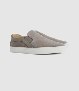 Reiss Weston - Suede Slip-on Trainers in Grey