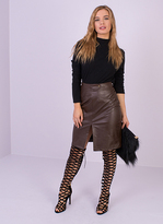 Missy Empire Harley Brown Faux Leather Bodycon Skirt