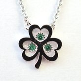 Trinity Silver Plated Open Shamrock Pendant With Green Cubic Zirconia Stones