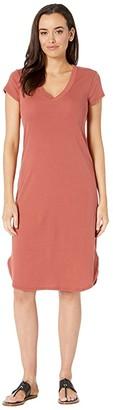 Three Dots Cotton Modal V-Neck Dress (Adobe) Women's Dress