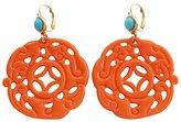 Kenneth Jay Lane Carved Round Oriental Orange Blue Drop Earrings 8860ETLC
