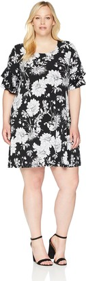 Karen Kane Women's Plus Size Ruffle Sleeve Dress