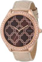 GUESS GUESS? Women's U0579L2 Rose Gold-Tone Watch with Brown Dial & Genuine Leather Strap