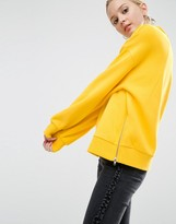 Asos Sweatshirt in Oversized Fit with Batwing Sleeve and Zip Detail