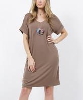 Lydiane Women's Tee Shirt Dresses MOCHA - Mocha V-Neck Roll-Cuff Pocket T-Shirt Dress - Women