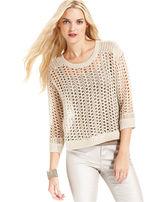 DKNY Sweater, Three-Quarter-Sleeve Mesh